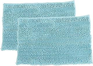 2枚組 バスマット マイクロファイバー アクアマリン お風呂マット 60×40cm スーパードライバスマット 吸水 速乾 乾燥
