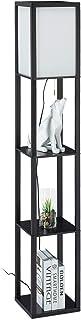 Relaxdays Lampe droite avec étagère, HlP 160x26x26 cm; douille E27, bois et acrylique, design moderne, sur pilier.