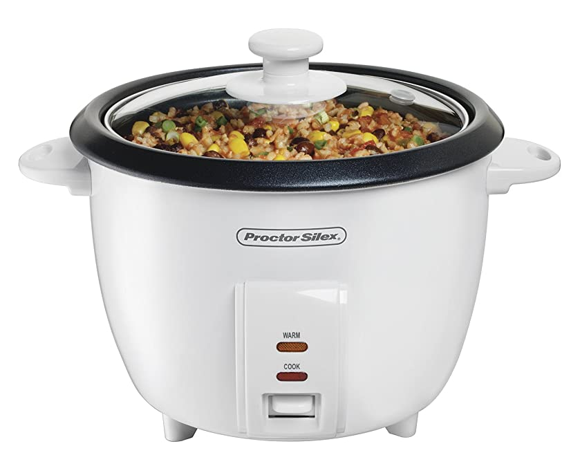 Proctor Silex 5-Cups uncooked resulting in 10-Cups Cooked Rice Cooker, White (37533NR)