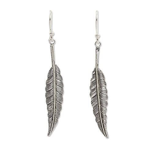 7512a2198 NOVICA .925 Sterling Silver Feather Motif Dangle Earrings, Flight'
