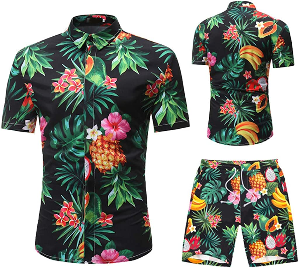 Litetao Mens Summer Shirts Pants Sets Casual Button Down Short Sleeve Flower Shorts Jumpsuit Outfits Tracksuit with Pocket