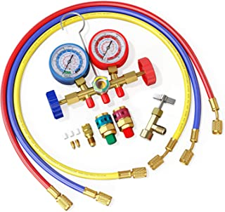 AURELIO TECH 3 Way A/C Diagnostic Manifold Gauge Set, Fits R134A R12 R22 and R502 Refrigerants, with 5FT Hose, Acme Tank Adapters, Couplers and Can Tap