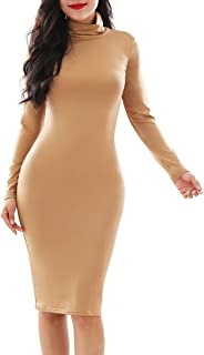 YMING Damen Elegantes Partykleid Figurbetontes Kleid Bodycon Stil Rollkragen Langarm Kleid