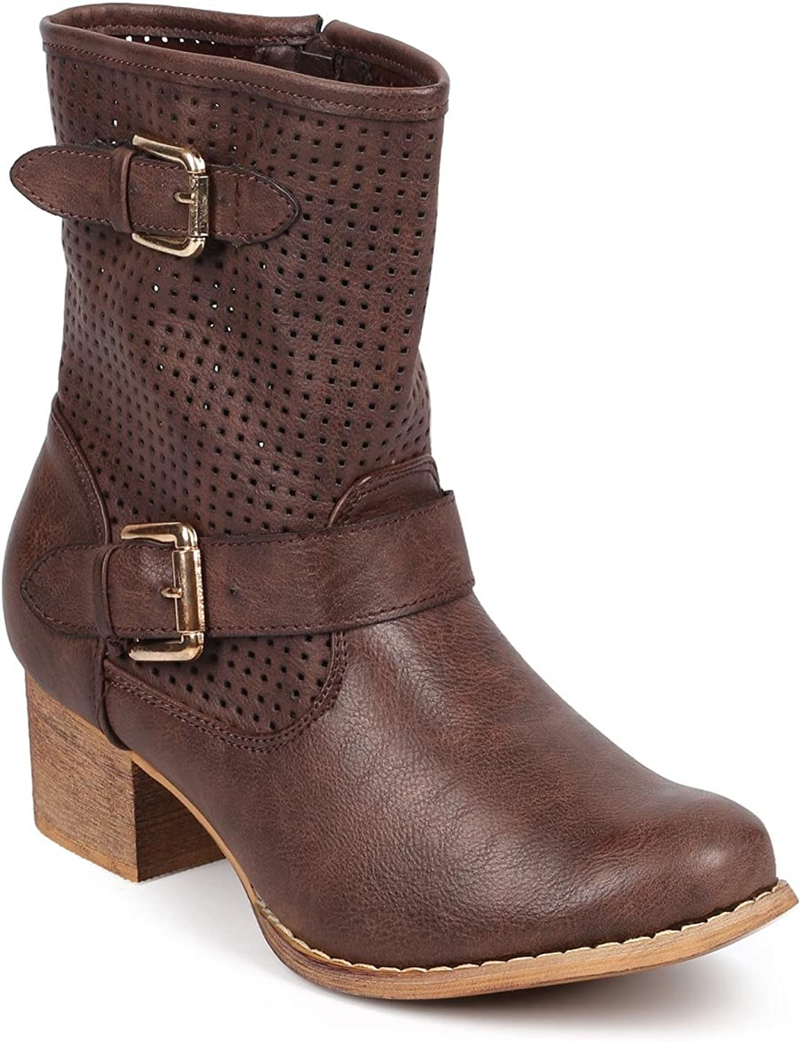 Liliana Women Leatherette Perforated Round Toe Buckle Strap Riding Boot DB59 - Brown