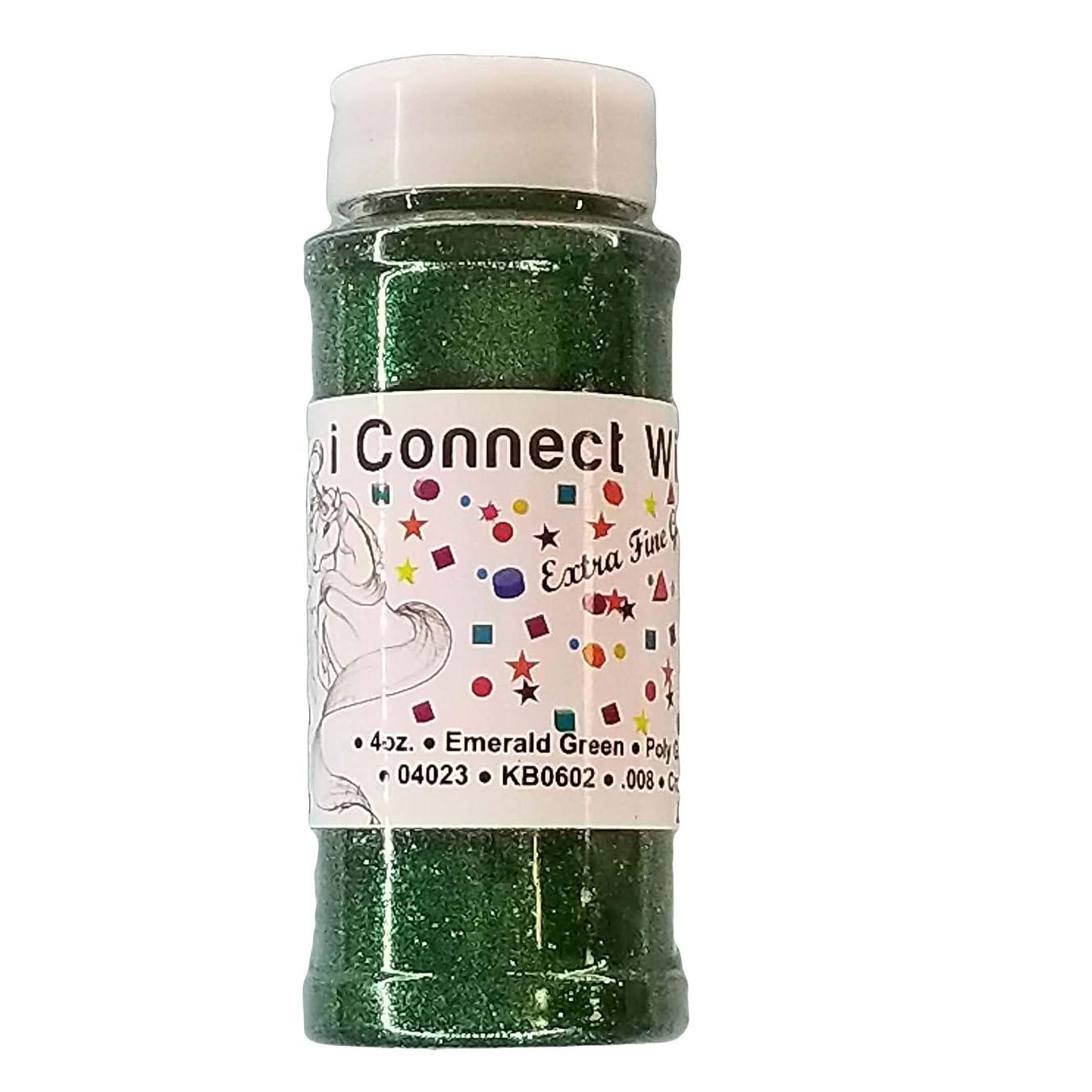 Emerald Green, Extra Fine Poly Glitter 1/128, 4oz Shaker Bottle