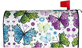 Granbey Color Butterfly Magnetic Mailbox Cover Colored Butterflies Letter Box Covers Colorful Flowers Polyester Fade Resis...