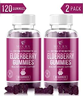 (2 Pack | 120 Gummies) Organic Sugar Free Elderberry Gummies for Adults Kids Toddlers with Echinacea, Vitamin C, Zinc, Propolis - Sambucus Black Elderberry Gummy Extract