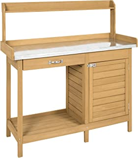 Best Choice Products Outdoor Garden Wooden Potting Bench Work Station w/ Metal Tabletop, Cabinet - Natural