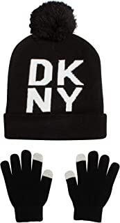 DKNY Boys Fold Over Winter Pom Pom Beanie Hat and Gloves Set