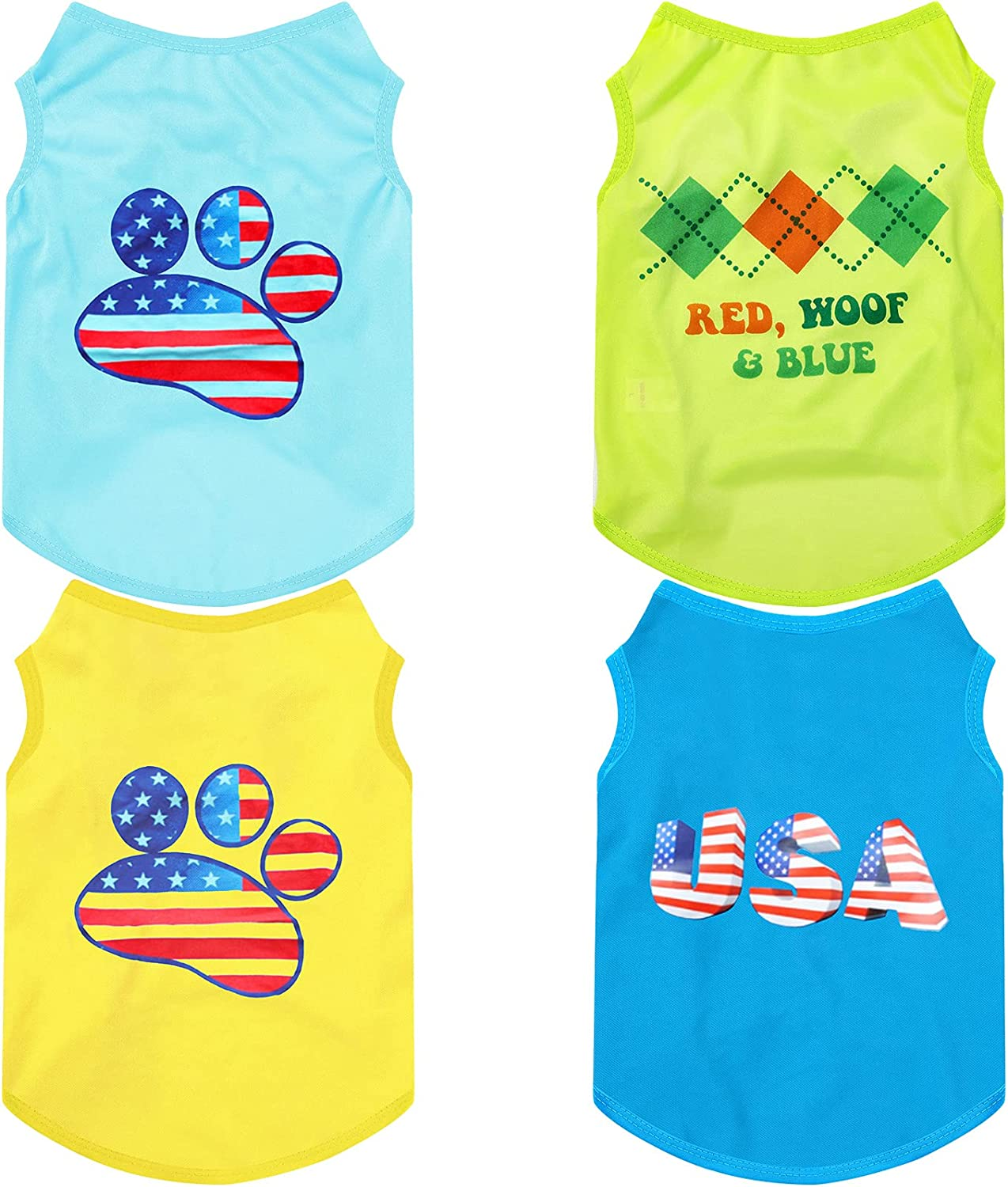 4 Max 57% OFF Pieces Pet Breathable Shirts Independence P Cute Shirt Day Dog Albuquerque Mall