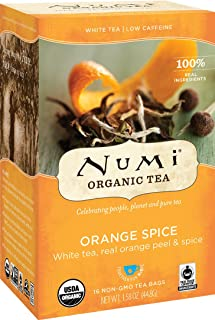 Numi Organic Tea Orange Spice, 16 Count Box of Tea Bags, White Tea (Packaging May Vary)