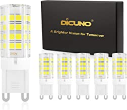 DiCUNO G9 LED Light Bulb 4W 40W Halogen Equivalent 450LM Daylight White 6000K Non-dimmable AC100-240V, 6-Pack
