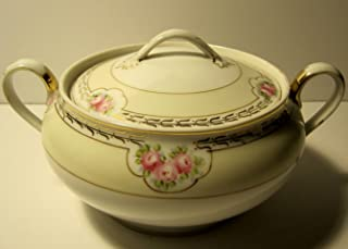 Tureen with Lid, Hand Painted Nippon Porcelain Bone Fine China, Antique (1911), 9 Inches