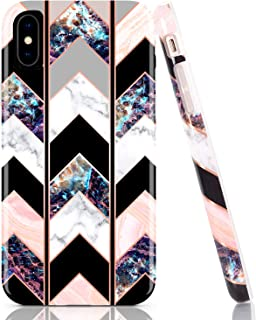 BAISRKE Bling Glitter Sparkle Rose Gold Marble Wave Geometric Case Slim Soft TPU Rubber Bumper Silicone Protective Phone Case Cover Compatible with iPhone X XS [5.8 inch] - Black