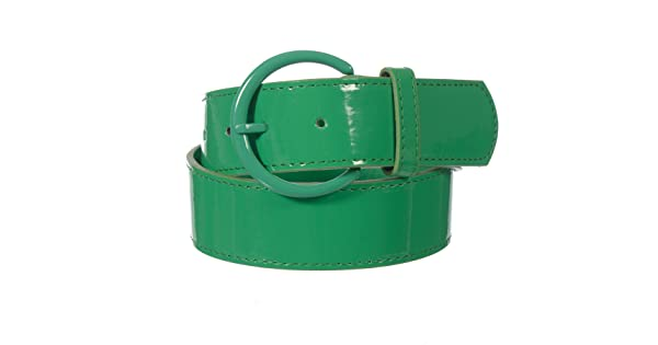 X-CESSOIRE Girls 1.5 Solid Color PU Belt with Circle Buckle