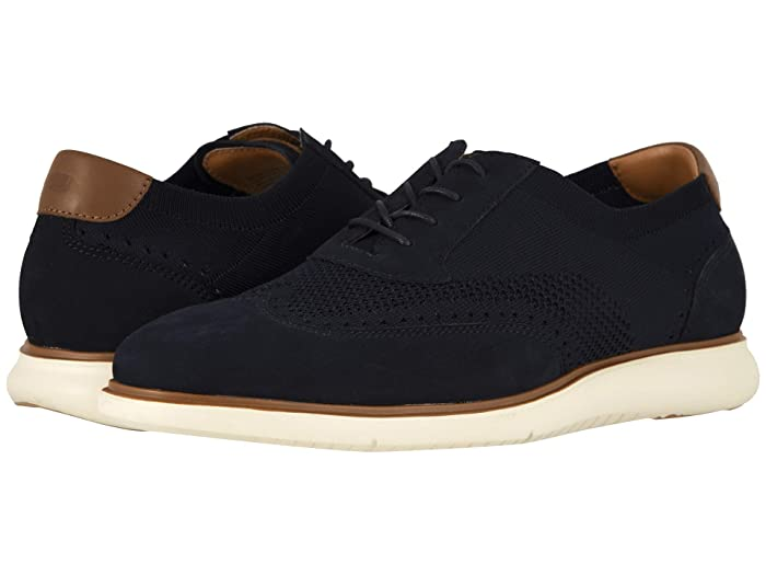 Florsheim  Fuel Knit Wing Tip Oxford (Indigo Nubuck with White Sole) Mens Lace Up Wing Tip Shoes