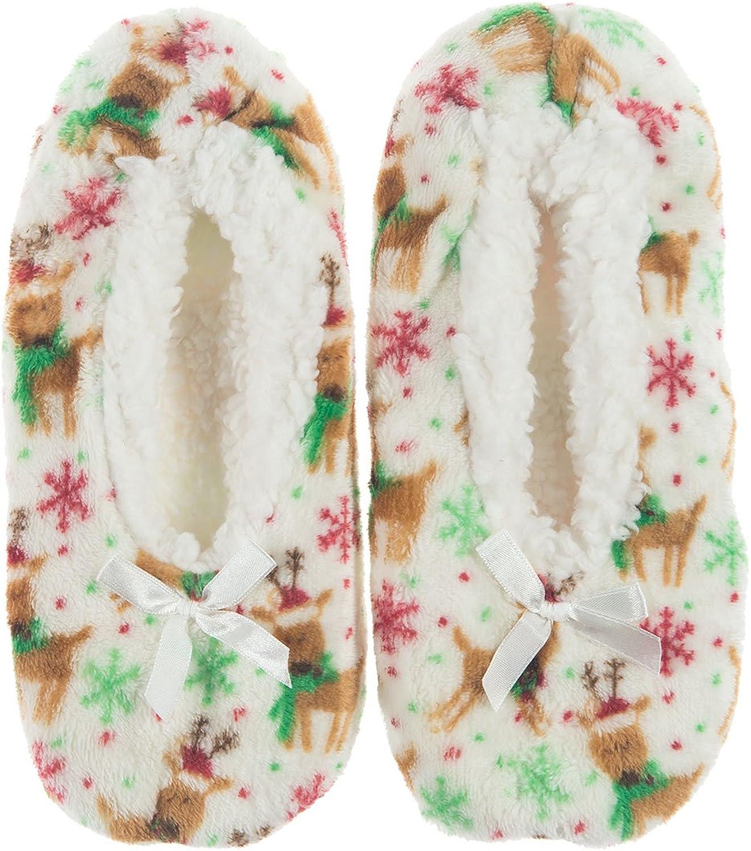 Womenss Slip Resistant Sole Faux-Fur Slipper Booties Socks