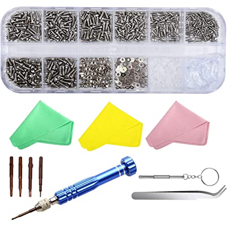 SUKUDON Kit di riparazione per occhiali da vista in acciaio cacciavite e naselli 1100 viti per iPhone Watch Jewelry Sunglass PC progetti fai da te riparazione