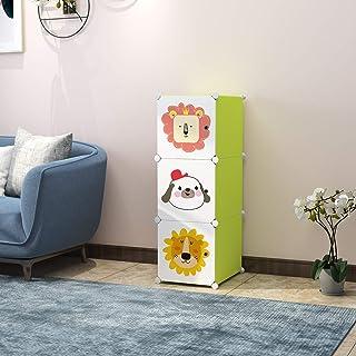R. K. INTERNATIONAL 3 Door Plastic Sheet Wardrobe Storage Rack Closest Organizer for Clothes Kids Living Room Bedroom Small Accessories