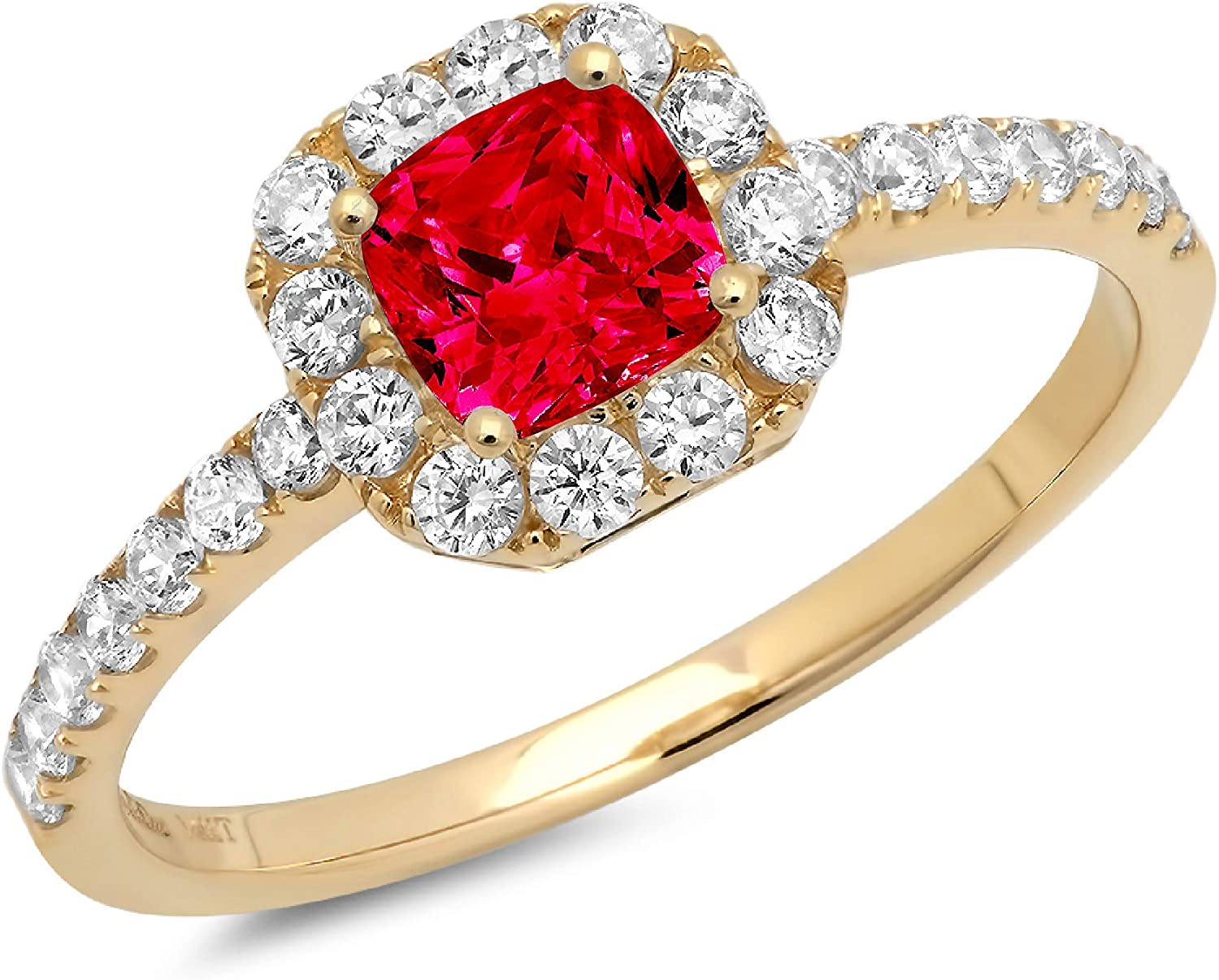 1.34ct Brilliant Princess Cut Solitaire with accent Flawless Ideal VVS1 Simulated CZ Red Ruby Engagement Promise Statement Anniversary Bridal Wedding Designer Ring 14k Yellow Gold