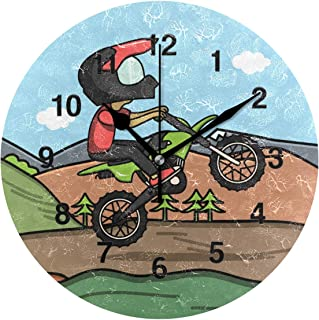 Jojogood MX Rider Bike Trail Clock Wall Decor Acrylic Decorative Round Clock for Home Bedroom Living Room Art