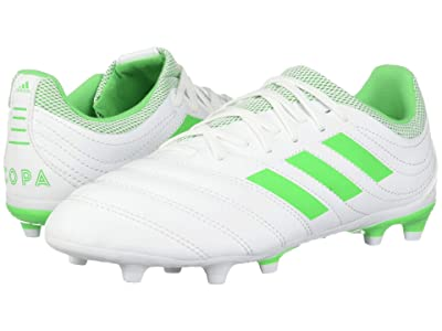 adidas Kids Copa 19.3 FG Soccer (Little Kid/Big Kid) (White/Solar Lime) Kids Shoes