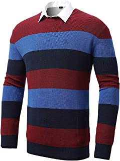 Mens Pullover Sweaters, Regular Fit Crewneck Striped Knit Pullovers for Men