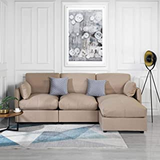 Beige Upholstered Linen Sectional Sofa Couch Modern L Shape Sectional, Sectional Sofas and Couches, Sofa Couch with Chaise, for Small/Large Living Spaces, Family Living Room Home Furniture Sectionals