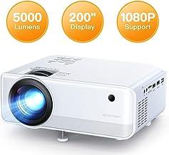Proyector APEMAN 5000 Lúmen Mini Proyector, Soporte 1080p HD Portátil LED Proyector, Duales Altavoz, 50,000 Horas de Vida, de Cine en Casa Soporte HDMI/USB/VGA/TF y TV Stick