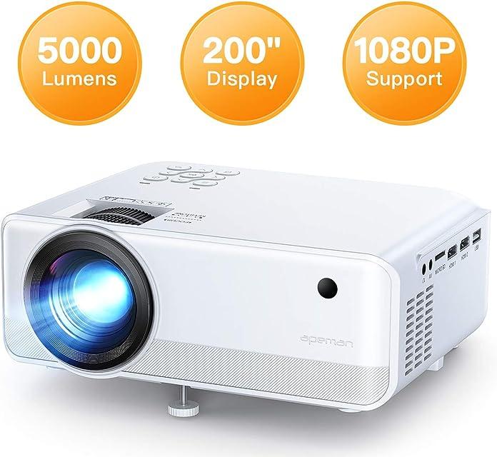 Proyector APEMAN 5000 Lúmen Mini Proyector Soporte 1080p HD Portátil LED Proyector Duales Altavoz 50000 Horas de Vida de Cine en Casa Soporte HDMI/USB/VGA/TF/ y TV Stick