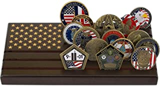 LZWIN 6 Rows Coin Holder, US Army Military Collectible Challenge Coin Display Case American Flag Wood Stand, Holds 24-30 Coins