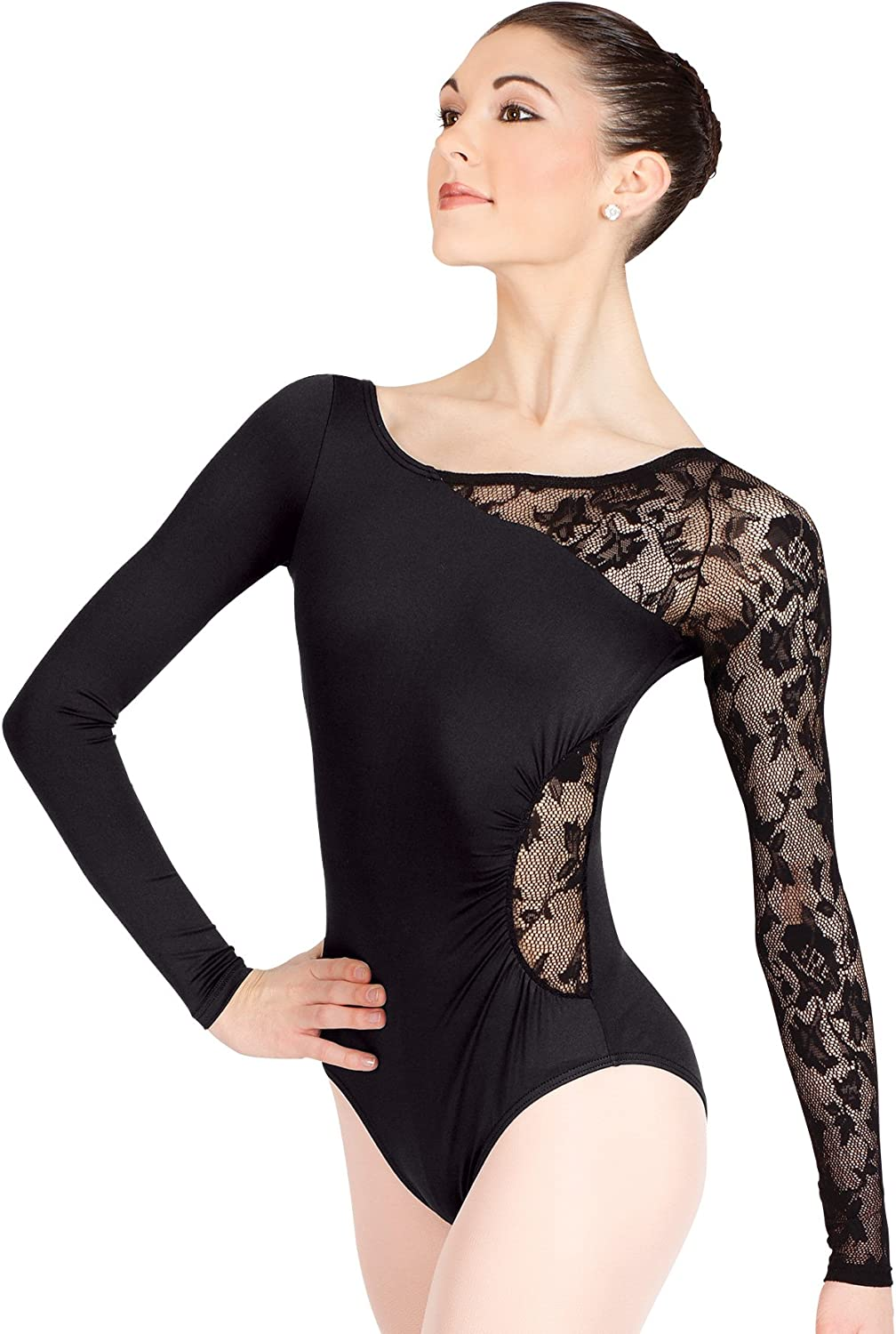 Adult Long Sleeve Leotard with Lace Sleeve and Insert N8650