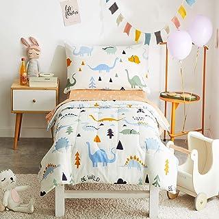 Joyreap 4 Piece Cotton Toddler Bedding Set for Kids Boys n Girls, Dinosaur Theme Cream White n Orange Reversible Design, I...