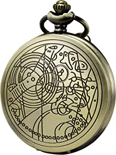 Morfong Quartz Pocket Watch Doctor Dr. Who Confession Pattern Fob Watches for Men Women with Chain Box