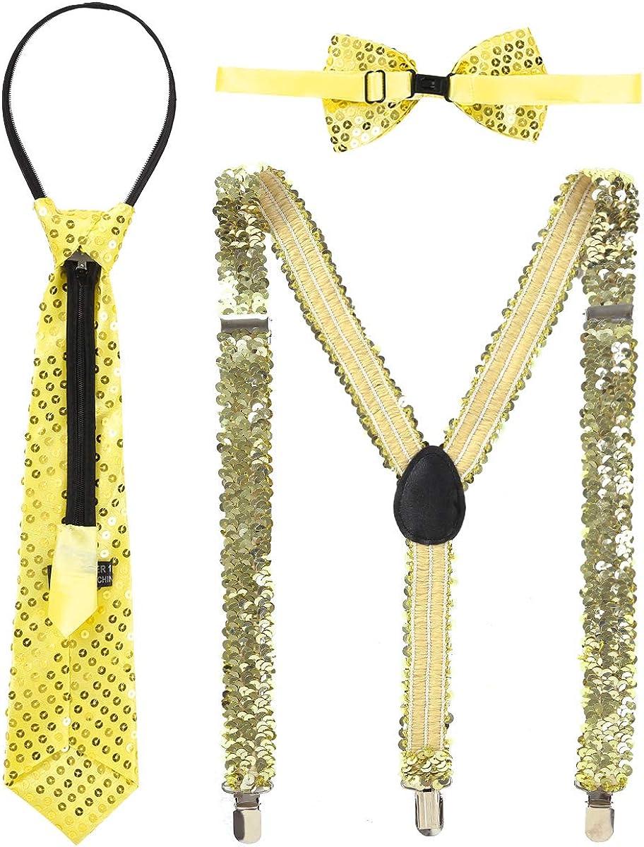 Freebily Womens Shiny Sequins Elastic Y Shape Suspenders Bow Tie Necktie Set Adjustable for Wedding Party