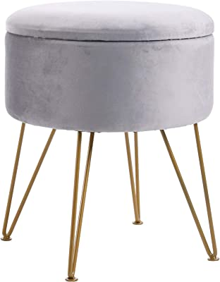 IBUYKE Storage Ottoman Chair Stool Upholstered Footrest Stool Velvet Dressing Table Seat Pouf Couch Stool Golden Steel Legs Removable Cover, 39X45.5cm LG-005
