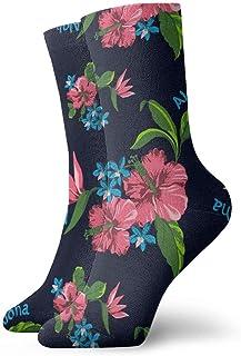 Calcetines estampados con estampado de flores del estado hawaiano divertido loco para niñas