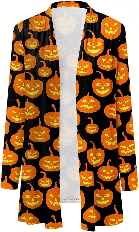 Women's Halloween Cardigan,Womens Funny Cute Pumpkin Cats Ghost Graphic Sweatshirt Womens Hoodies Pollover
