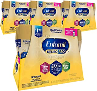 Enfamil NeuroPro Ready to Feed Baby Formula Milk, 8 fl. oz. Pack of 4 (24 bottles) Dual Prebiotics for Immune Support, Inf...