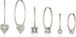 Women's 3-Pair of Multi-Sized Hoops with Charm Accents Earrings