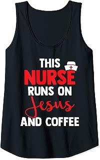 Womens This Nurse Runs On Jesus And Coffee Religious Nursing Gift Tank Top