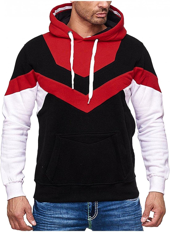 Men's Hoodies Pullover, Men's Hipster Hip Hop Hoodie Colorblock Casual Long Sleeve Warm Soft Hoody Sweatshirts Pocket
