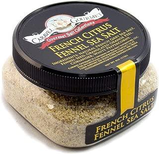 French Citrus Fennel Sea Salt - All-Natural French Grey Sea Salt with Fennel Seeds, Orange, Coriander, White Peppercorn - No Gluten, No MSG, Non-GMO - Cooking, Finishing Salt - 4 oz. Stackable Jar