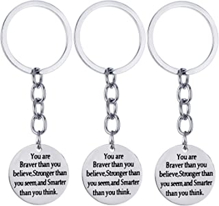 Pack of 3 Inspirational Keychain Inspirational Gifts Inspirational Jewelry Women Key Chains Christmas Gifts (Pack of 3 You are Braver Than)