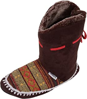 ABSOLUTE FOOTWEAR Ladies/Womens Slip On Slippers/Boots/Booties/Indoor Shoes with Warm Faux Fur Inners