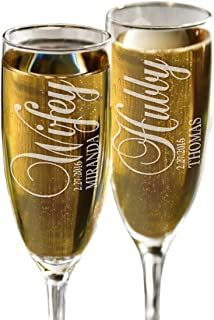 Hubby and Wifey Set of 2 Champagne Flutes Personalized Engraved Champagne Toasting Glasses Wedding Bride Groom Gift