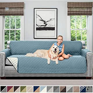 SOFA SHIELD Original Patent Pending Reversible Oversize Sofa Slipcover, 2 Inch Strap Hook, Seat Width Up to 78 Inch Washable Furniture Protector, Couch Slip Cover for Pet, Oversize Sofa, Seafoam Cream