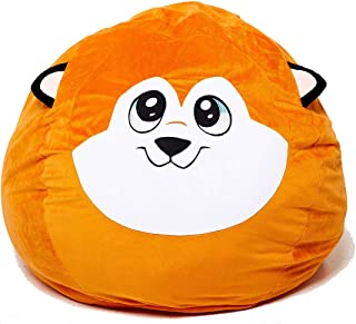 Roomganize Large Stuffed Animal Bean Bag Chair Toy Storage (Fox)