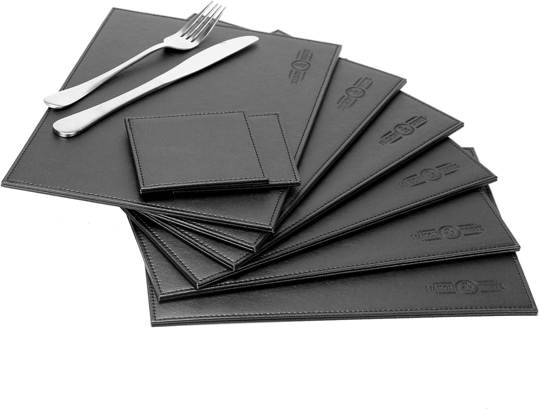 Juego de mesa de cuero sintético de 12 piezas | 6 manteles individuales y 6 posavasos | Manteles Navideños | Set de Manteles de cuero negro | Juego de posavasos | M&W