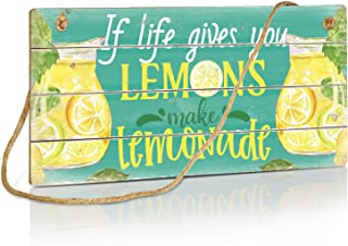 Putuo Decor Lemon Kitchen Decor, Rustic Wall Sign for Bar, Kitchen, Dining Room, Restaurant, Coffee Shop, 10x5 Inches Plaq...